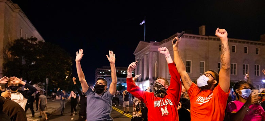 military helicopterA Lakota National Guard helicopter hovered low over protesters in D.C. Monday night.