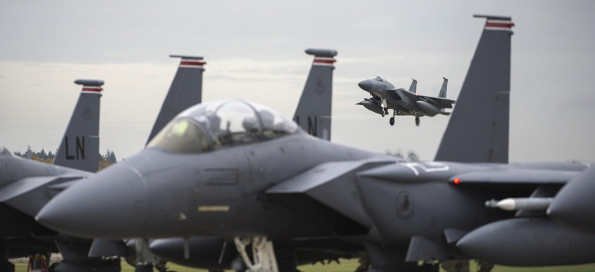 An F-15C Eagle from the 493rd Fighter Squadron, prepares to land on the flight line at Royal Air Force Lakenheath, England.