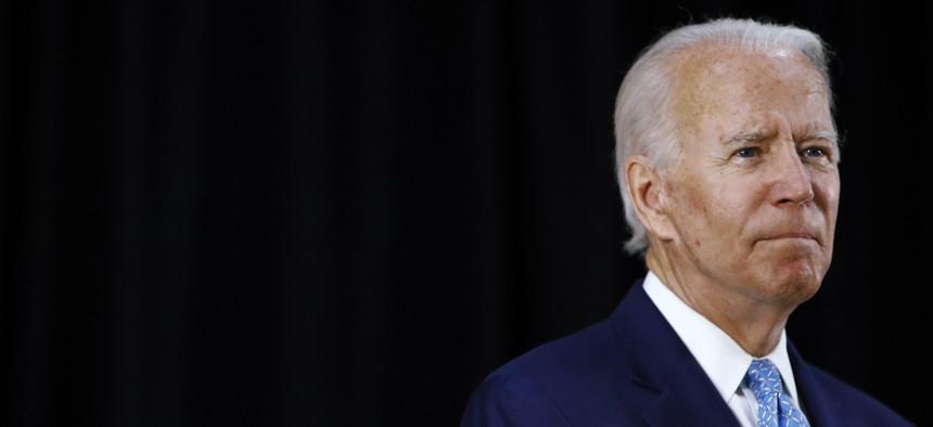 Democratic presidential candidate, former Vice President Joe Biden speaks at Alexis Dupont High School in Wilmington, Del., Tuesday, June 30, 2020.