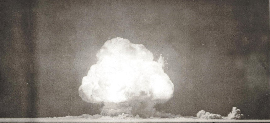 The world's first nuclear explosion on July 16, 1945, in New Mexico.