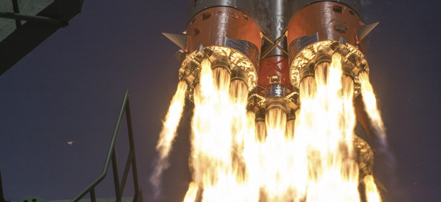 In this April 9, 2020 photo, Roscosmos Space Agency Press Service the Soyuz-2.1A rocket booster with Soyuz MS-16 space ship carrying a new crew to the International Space Station, ISS, blasts off at the Russian leased Baikonur cosmodrome, Kazakhstan.