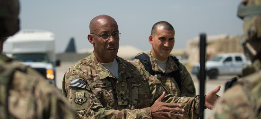 U.S. Air Force Lt. Gen. Charles Q. Brown Jr., speaks to Airmen at Bagram Air Field, Afghanistan, July 25, 2015.