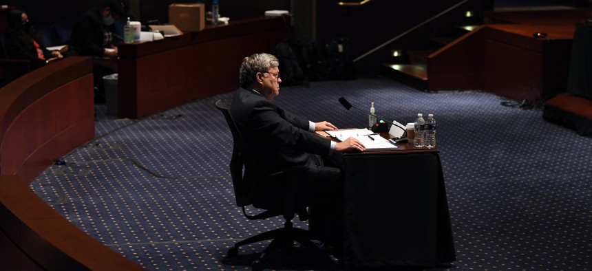 Attorney General William Barr testifies during a House Judiciary Committee hearing on the oversight of the Department of Justice on Capitol Hill, Tuesday, July 28, 2020 in Washington.
