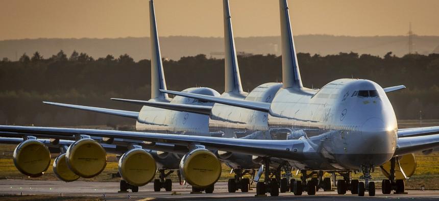 Lufthansa Boeing 747 aircraft parked in Frankfurt due to the coronavirus pandemic.