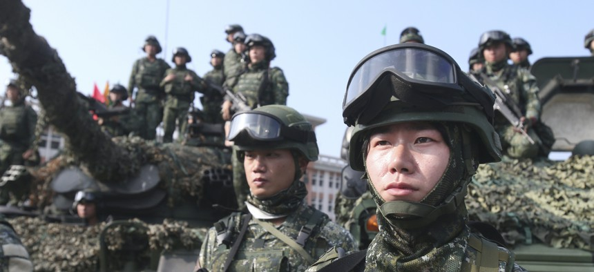 Soldiers pose for press during a military exercise in Kaohsiung, southern Taiwan, on Jan. 15, 2020.