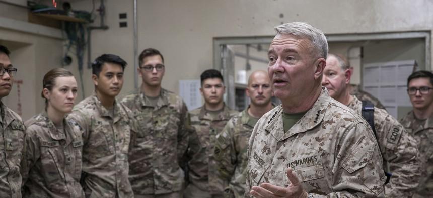 U.S. Marine Corps Gen. Kenneth F. McKenzie Jr., the commander of U.S. Central Command, speaks to U.S. soldiers in Afghanistan in 2019.
