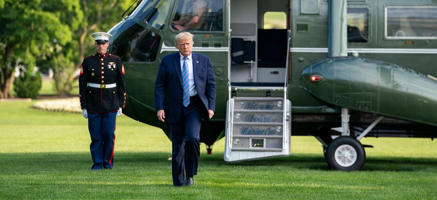 President Donald J. Trump disembarks from Marine One at the White House on June 14, 2020.