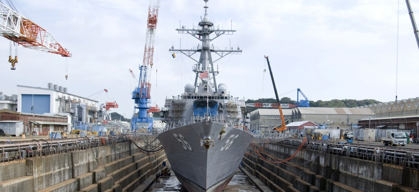 The guided-missile destroyer USS John S. McCain is in dry dock at Fleet Activities Yokosuka during a scheduled dry-dock selective restricted availability.