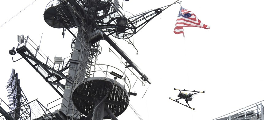 SAN DIEGO, Calif. (Jun. 19, 2019) Aboard the USS Midway Museum in San Diego, California, the Office of Naval Research Global (ONRG) TechSolutions held a demonstration of Topside Drone, a corrosion/anomaly detection sensor payload and processing scheme.