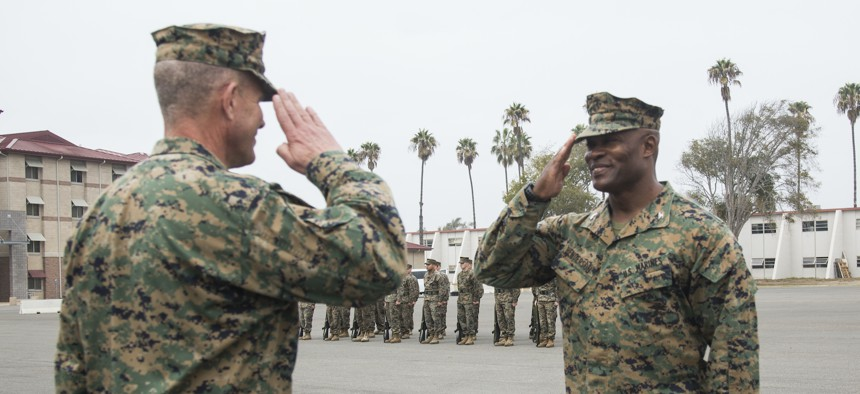 Col. Anthony Henderson, commanding officer 13th Marine Expeditionary Unit, receives the Legion of Merit award on Camp Pendleton, California, Dec. 15, 2016.