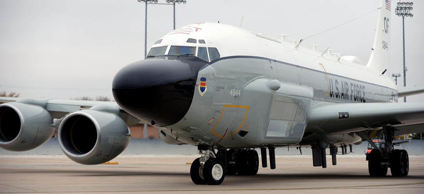 An Offutt-based RC-135 V/W Rivet Joint aircraft taxis out of its parking spot during Global Thunder 17, U.S. Strategic Command's annual command post and field training exercise, Oct. 30, 2016, at Offutt Air Force Base, Neb.