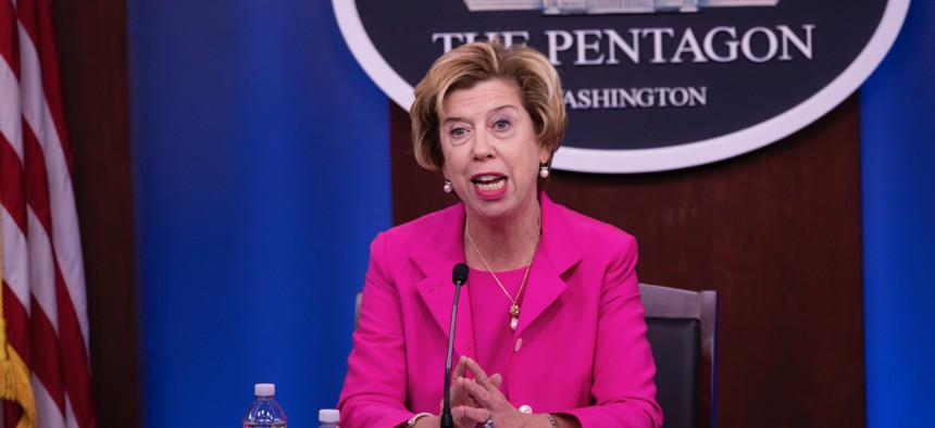 Under Secretary of Defense for Acquisition & Sustainment Ellen Lord holds an on-camera, on the record press briefing August 20, 2020, in the Pentagon Briefing Room.