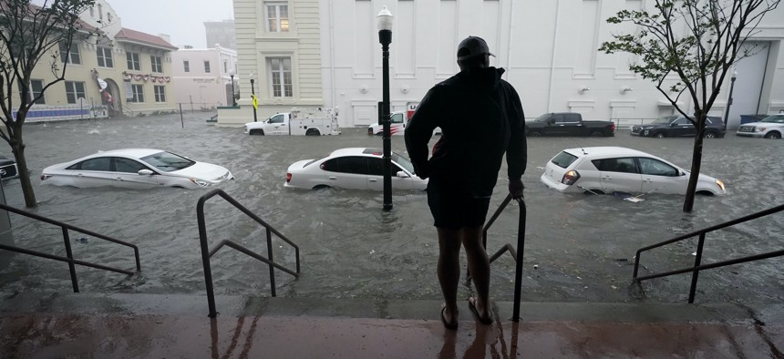 A Sept. 16, 2020, photo shows flooding in Pensacola, Fla. Hurricane Sally caused dangerous flooding from Florida to Mississippi and inland.
