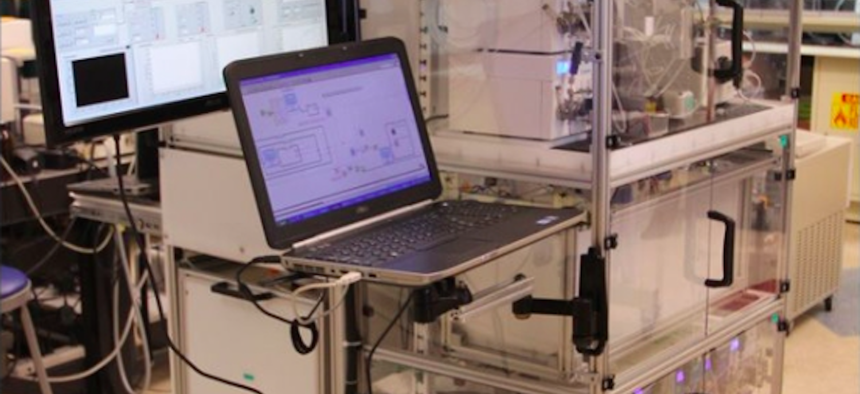 The ODP device can be reconfigured to manufacture several types of pharmaceuticals.