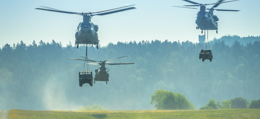 Soldiers conduct simulated air assaults at Hohenfels Training Area, Germany, Aug. 10, 2020, for Saber Junction 20, an annual U.S. Army Europe-directed exercise.