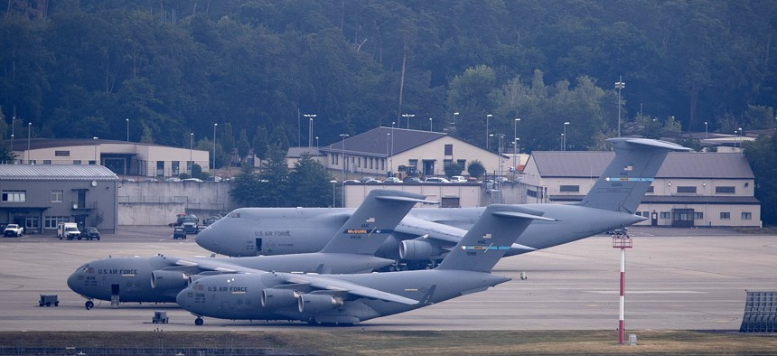 A US military aircraft takes off at United Staes' Ramstein Air Base in Ramstein, Germany, Tuesday, June 9, 2020. According to various media outlets, the US wants to reduce the number of soldiers stationed in Germany.