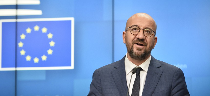 European Council President Charles Michel speaks during a press conference at an EU summit at the European Council building in Brussels, Friday, Oct. 2, 2020
