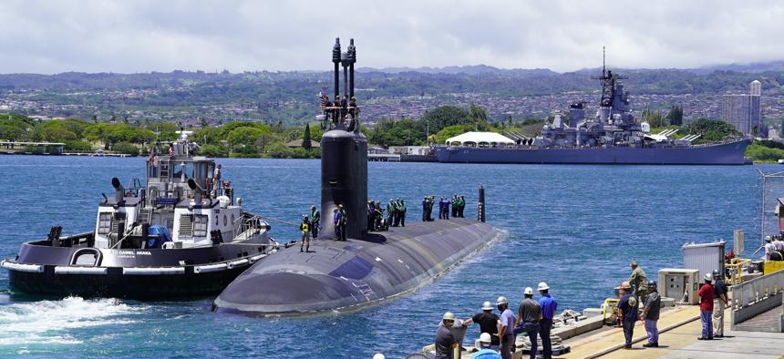 USS Missouri (SSN 780), a Virginia-class fast-attack submarine, departs Pearl Harbor Naval Shipyard and Intermediate Maintenance Facility on May 10, 2020.