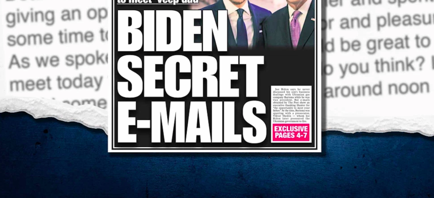 The cover of the New York Post for Wednesday, October 14, 2020 shows a discredited story about Democratic presidential candidate Joe Biden's son.