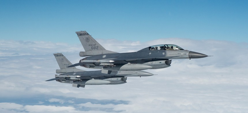 Republic of China Air Force F-16s in flight in 2017.
