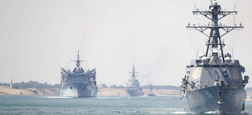 The Abraham Lincoln Carrier Strike Group transits the Suez Canal.