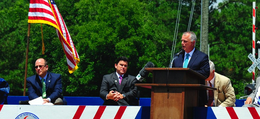 Tony Tata, then the director of North Carolina's Dept. of Transportation, speaks in 2013.