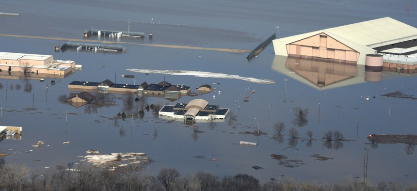 Water covered one-third of Offutt Air Force Base, Nebraska, after the Missouri River flooded in March 2019.