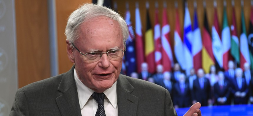 Amb. James Jeffrey, special representative for Syria Engagement and special envoy to the Global Coalition to Defeat Islamic State, speaks during a news conference at the State Department in Washington, Thursday, Nov. 14, 2019.