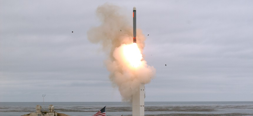 On Aug. 18, 2019, at 2:30 p.m. Pacific Daylight Time, the Defense Department conducted a flight test of a conventionally configured ground-launched cruise missile at San Nicolas Island, Calif.