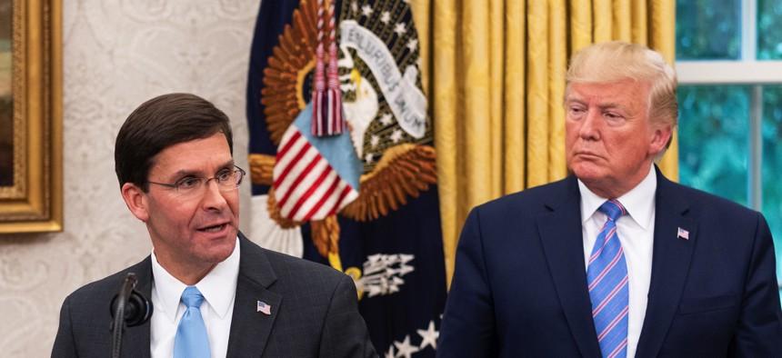 Then-Defense Secretary Mark Esper speaks at the White House in July 2019.
