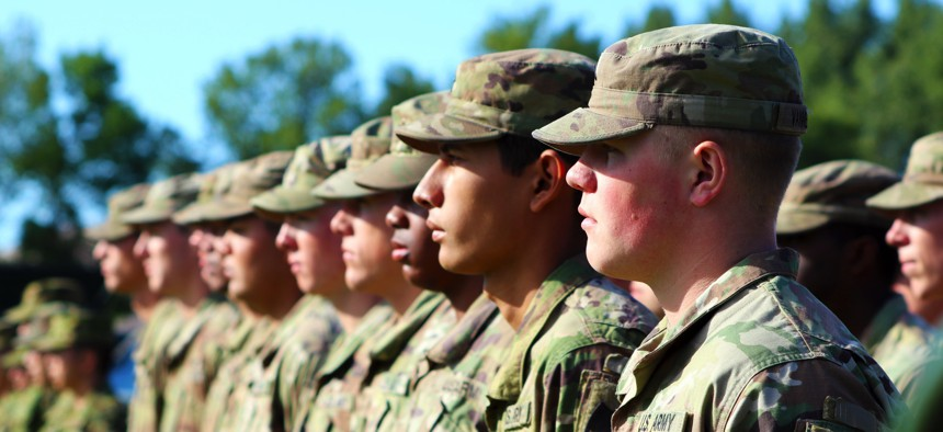 Soldiers from 17th Infantry Regiment stand together in formation during the opening ceremony for a training exercise at the Yakima Training Center, Washington, in 2018.