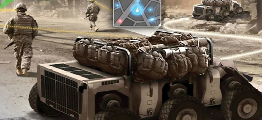 By 2025, the Army sees ground troops conducting foot patrols in urban terrain with robots—called Squad Multipurpose Equipment Transport vehicles—that carry rucksacks and other equipment. Unmanned aircraft could serve as spotters.