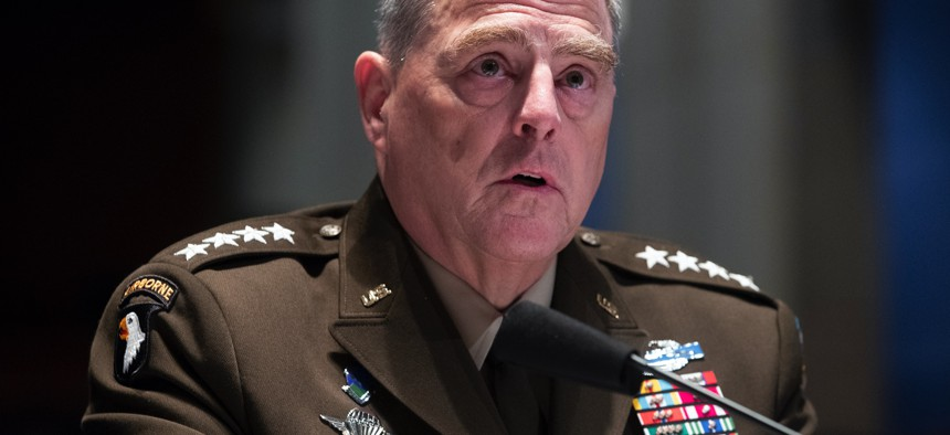 Chairman of the Joint Chiefs of Staff Gen. Mark Milley testifies to the  House Armed Services Committee earlier this year.