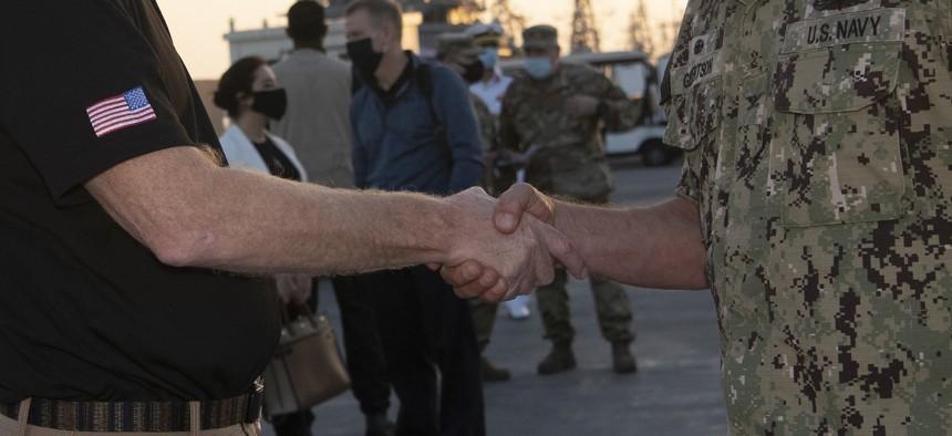 Acting Defense Secretary Christopher C. Miller visits Naval Support Activity Bahrain, Nov. 25, 2020.