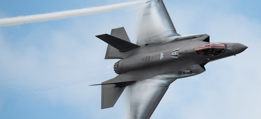 Capt. Andrew Olson, F-35 Demonstration Team pilot and commander, performs a dedication pass during the Melbourne Air and Space Show in Melbourne, Fla., March 30, 2019.