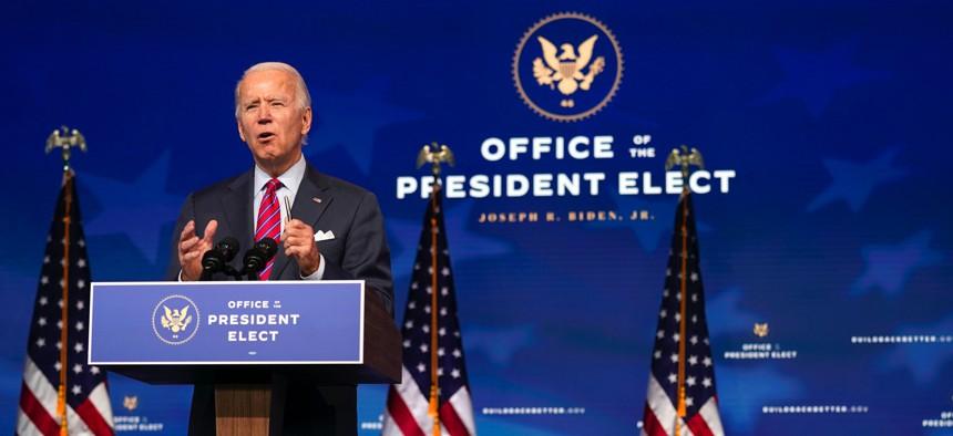 President-elect Joe Biden speaks at The Queen theater, on Dec. 4, 2020, in Wilmington, Del.