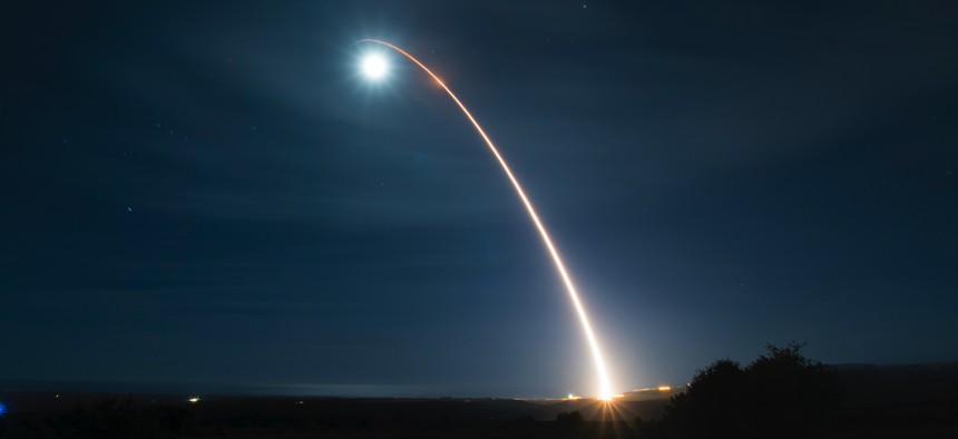 An unarmed Minuteman III, the current version of the ICBM, launches during a developmental test at 12:33 a.m. Pacific Time Wednesday, Feb. 5, 2020, at Vandenberg Air Force Base, Calif