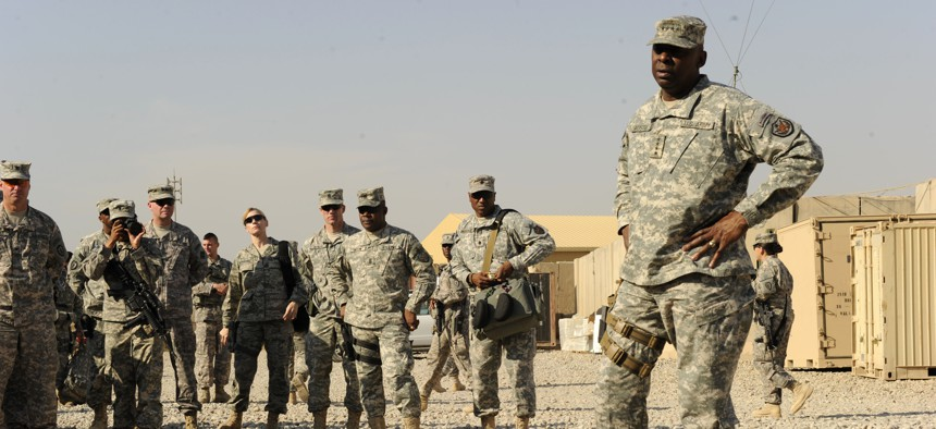 U.S. Army Gen. Lloyd Austin, commanding general, U.S. Forces-Iraq speaks with soldiers from 2nd Advise and Assist Brigade, 25th Infantry Division at Forward Operating Base Warhorse in Diyala province, Iraq, Nov. 16, 2010.