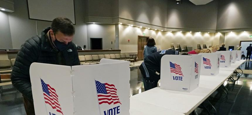 Voting booths in Mississippi on Nov. 3, 2020.