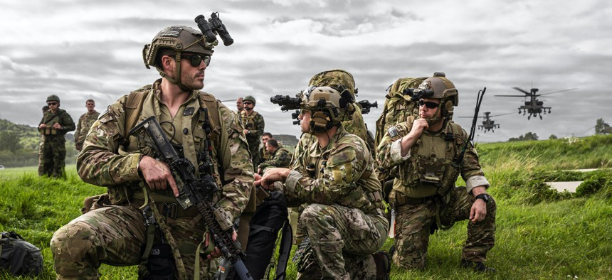 U.S. Special Forces soldiers train during Exercise Saber Junction 19 in Hohenfels, Germany, in September 2019.