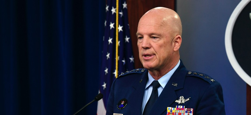U.S. Space Force Chief of Space Operations Gen. John W. Raymond conducts a press briefing with the Pentagon Press Corps to address Space Force response efforts for COVID-19 at the Pentagon on March 27, 2020.