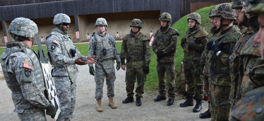 U.S. and German troops train at a shooting range in Bamberg, Germany.