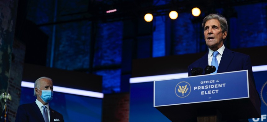 President-elect Joe Biden's climate envoy nominee former Secretary of State John Kerry speaks on Nov. 24, 2020, in Wilmington, Del.