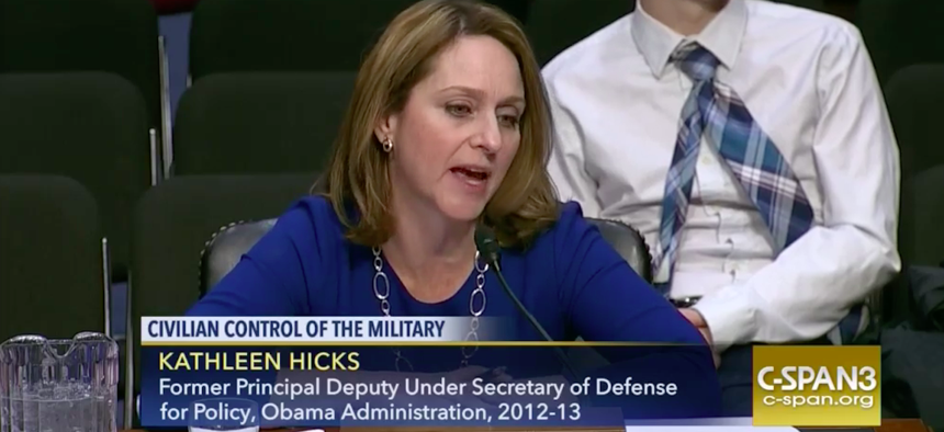 Kathleen Hicks testifies before the Senate Armed Services Committee on January 10, 2017.