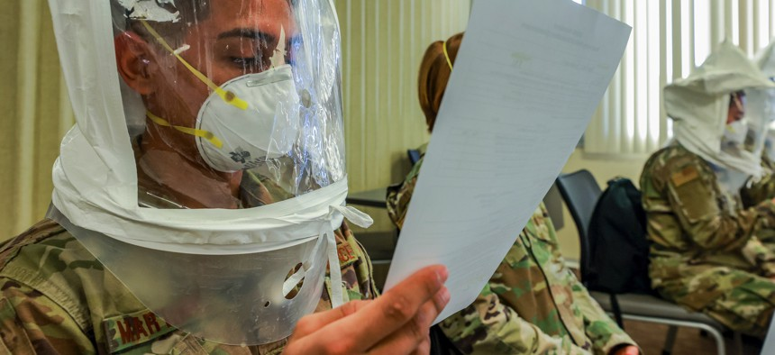 An Air Force medical provider participates in an N95 mask fit test at a hospital in Lodi, Calif., Dec. 29, 2020.