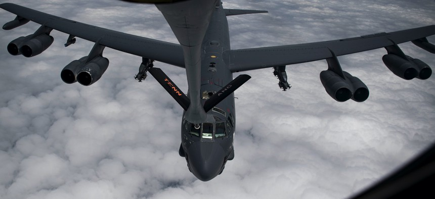 An Air Force B-52 Stratofortress receives fuel from a KC-135 Stratotanker over Southwest Asia, May 12, 2019.