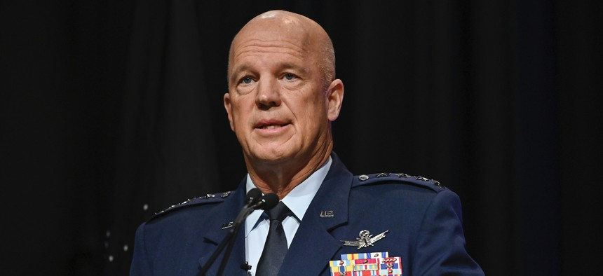 Chief of Space Operations Gen. John W. Raymond delivers remarks during a ceremony at the Pentagon transferring airmen into the U.S. Space Force, Arlington, Va., Sept. 15, 2020.