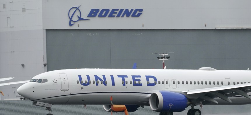 A Boeing 737 Max 9 built for United Airlines lands at King County International Airport - Boeing Field after a test flight from Moses Lake, Wash., Wednesday, Nov. 18, 2020, in Seattle.