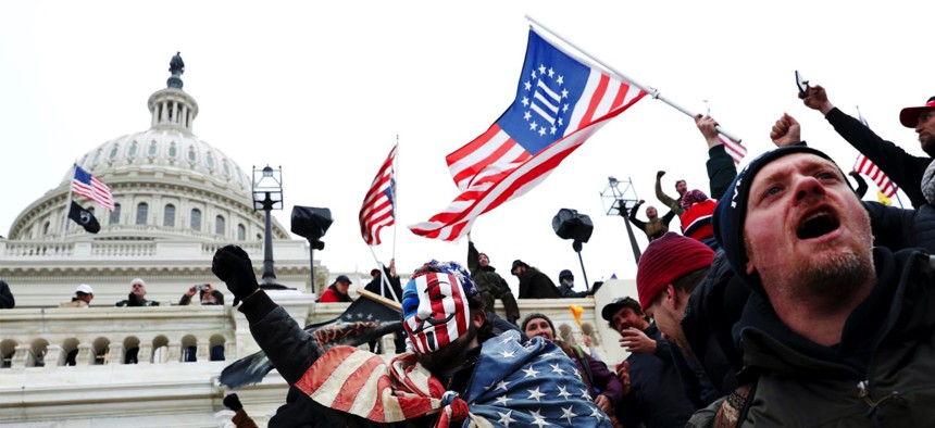 Pro-Trump rioters at the Capitol, Jan. 6, 2021.