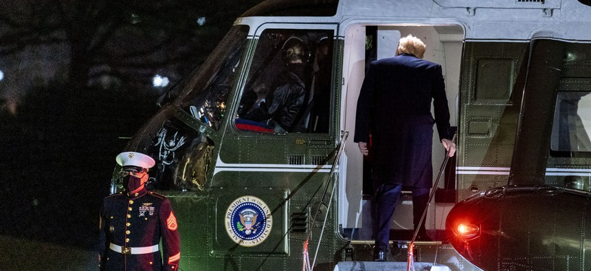 President Donald Trump boards Marine One on the South Lawn of the White House in Washington, Monday, Jan. 4, 2021.